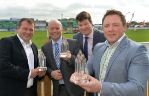 (From left) Winners at the SPAR Local Supplier Awards Gordon McAtamney, K&G McAtamney (Tomorrow Matters Award), Alvin Donaghy, Fred C Robinson (Best Local Supplier) and David Graham, Around Noon (Best New SPAR Range) are joined by Neal Kelly (second right), Fresh Food Director