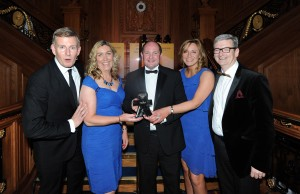 Bronagh Luke, Head of Corporate Marketing, Emma Gibson HR Manager and Sam Davidson, HR Director from Henderson Group proudly picked up the 'Right Place to work' Award at the Irish News Workplace & Employment awards from Comedian Patrick Kielty, compere of the evening and award sponsor Mark Regan, h3 Health Insurance.