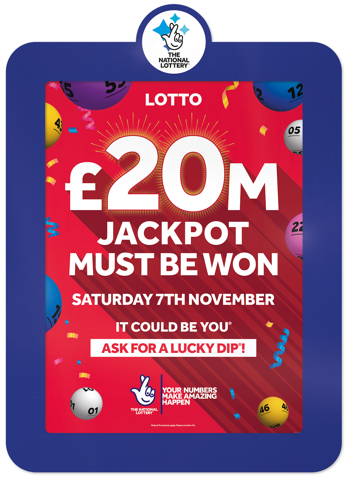 National Lottery 'Must Be Won' Draw of £20m on Saturday 7th